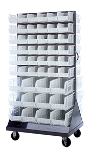 Double Sided Louvered Rack w/ 96 Multi-size Clear View Bins
