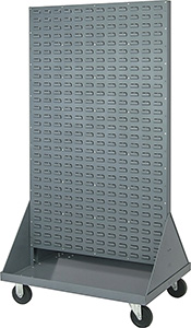 36L x 25W x 64H Heavy Duty Double Sided Mobile Louvered Panel Rack with 1200 lbs. Cap.