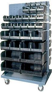 "Mobile Double Sided Louvered Rack - 36""L x 25""W x 72""H"