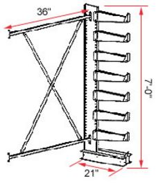 "Cantilever Rack, Single-Sided, Light Duty - Adder; 3' Brace Width, (7) 14"" Arms."