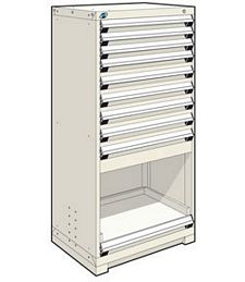 "Heavy Duty Modular Drawer Cabinet - 30""W x 21""D x 60""H, with  9 drawers / 1 roll-out shelf"