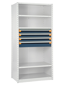 Modular Drawer Shelving Insert, 36w x 18d x 18h, 4 Drawers