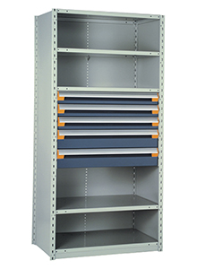 "Steel Shelving, 75h x 36w x 18d, w/ 24""h, 5-drawer unit, 5 shelves"