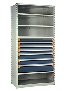 "Steel Shelving, 75h x 36w x 18d, w/ 36""h, 7-drawer unit, 5 shelves"
