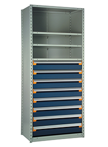 "Steel Shelving, 75h x 36w x 18d, w/ 48""h, 9-drawer unit, 4 shelves"
