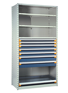 "Steel Shelving, 75h x 36w x 18d, w/ 48""h, 7-drawer unit, 4 shelves"