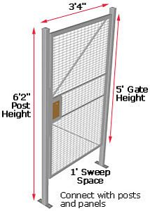 "Modular Wire Barrier - Hinged Gate, 3'4"" w x 5' h - with Thumb Latch"