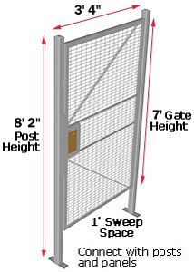 Machine Guard Hinged Door, 3'W x 7'H with 2 Posts & Transom