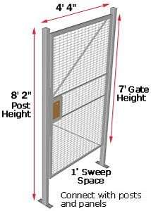 Machine Guard Hinged Door, 4'W x 7'H with 2 Posts & Transom