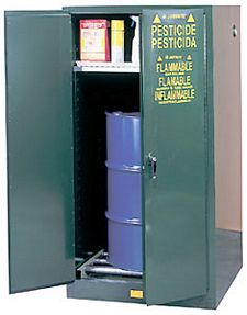 Pesticides Drum Cabinet - 65 x 34 x 34 - 2 door self-close & rollers, Sure-Grip Handle, 1: 55-gal. drum