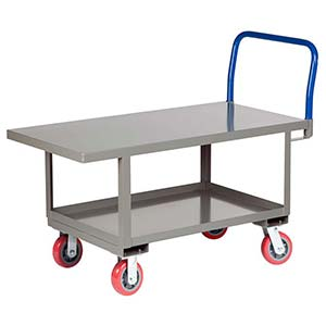 "Ergonomic Platform Truck - 24"" x 48"" Steel Deck w/ Flush Edges, Lower Shelf, Poly Wheels"