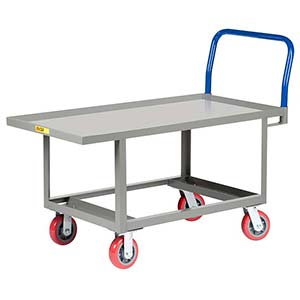 "Ergonomic Platform Truck - 24"" x 48"" Steel Deck w/ Retaining Lip, Open Base, Poly Wheels"
