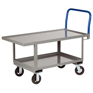 "Ergonomic Platform Truck - 24"" x 48"" Steel Deck w/ Retaining Lip, Lower Shelf, Rubber Wheels"