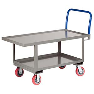 "Ergonomic Platform Truck - 24"" x 48"" Steel Deck w/ Retaining Lip, Lower Shelf, Poly Wheels"