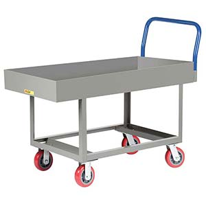 "Ergonomic Platform Truck - 24"" x 48"" Steel Deck w/ 6""D Sides, Open Base, Poly Wheels"
