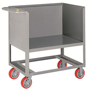 "3-Sided Solid Box Truck - Raised Platform, 24"" x 36"" Deck, 6"" Poly Casters"