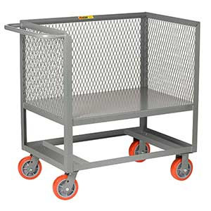 "3-Sided Mesh Box Truck - Raised Platform, 24"" x 48"" Deck, 6"" Poly Casters"