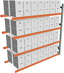 Record Archive Storage Rack - Adder with 4 Shelves - 96w x 36d x 96h - 5,080 lbs./Shelf Cap.