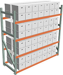 Record Archive Storage Rack - Starter with 4 Shelves - 96w x 36d x 96h - 5,080 lbs./Shelf Cap.