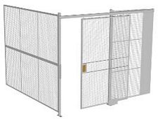 "2-Wall Welded Wire Security Cage, No Ceiling, 10'2"" x 10'2"" x 8'5-1/4"" with 5' Sliding Gate"