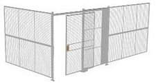 "2-Wall Welded Wire Security Cage, No Ceiling, 20'4"" x 10'2"" x 8'5-1/4"" with 5' Sliding Gate"