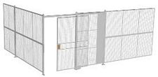 "2-Wall Welded Wire Security Cage, No Ceiling, 20'4"" x 15'4"" x 8'5-1/4"" with 5' Sliding Gate"
