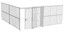 "2-Wall Welded Wire Security Cage, No Ceiling, 20'4"" x 20'4"" x 8'5-1/4"" with 5' Sliding Gate"