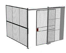 "2-Wall Welded Wire Security Cage, No Ceiling, 10'2"" x 10'2"" x 10'5-1/4"" with 5' Sliding Gate"
