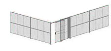 "2-Wall Welded Wire Security Cage, No Ceiling, 20'4"" x 20'4"" x 10'5-1/4"" with 5' Sliding Gate"