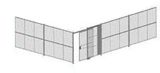 "2-Wall Welded Wire Security Cage, No Ceiling, 30'6"" x 20'4"" x 10'5-1/4"" with 5' Sliding Gate"