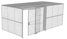 "2-Wall Welded Wire Security Cage, w/Ceiling, 20'4"" x 10'2"" x 8'5-1/4"" with 5' Sliding Gate"