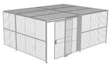 "2-Wall Welded Wire Security Cage, w/Ceiling, 20'4"" x 15'4"" x 8'5-1/4"" with 5' Sliding Gate"