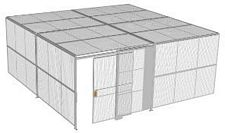 "2-Wall Welded Wire Security Cage, w/Ceiling, 20'4"" x 20'4"" x 8'5-1/4"" with 5' Sliding Gate"