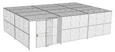"2-Wall Welded Wire Security Cage, w/Ceiling, 30'6"" x 20'4"" x 8'5-1/4"" with 5' Sliding Gate"