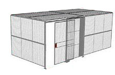 "2-Wall Welded Wire Security Cage, w/Ceiling, 20'4"" x 10'2"" x 10'5-1/4"" with 5' Sliding Gate"