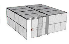 "2-Wall Welded Wire Security Cage, w/Ceiling, 20'4"" x 20'4"" x 10'5-1/4"" with 5' Sliding Gate"