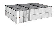 "2-Wall Welded Wire Security Cage, w/Ceiling, 30'6"" x 20'4"" x 10'5-1/4"" with 5' Sliding Gate"