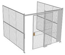 "3-Wall Welded Wire Security Cage, No Ceiling, 10'4"" x 10'2"" x 8'5-1/4"" with 5' Sliding Gate"