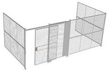"3-Wall Welded Wire Security Cage, No Ceiling, 20'6"" x 10'2"" x 8'5-1/4"" with 5' Sliding Gate"