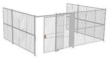 "3-Wall Welded Wire Security Cage, No Ceiling, 20'6"" x 15'4"" x 8'5-1/4"" with 5' Sliding Gate"
