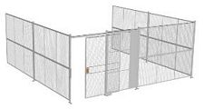 "3-Wall Welded Wire Security Cage, No Ceiling, 20'6"" x 20'4"" x 8'5-1/4"" with 5' Sliding Gate"