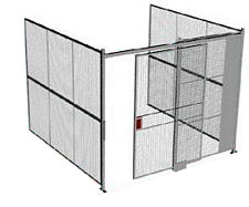 "3-Wall Welded Wire Security Cage, No Ceiling, 10'4"" x 10'2"" x 10'5-1/4"" with 5' Sliding Gate"
