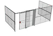 "3-Wall Welded Wire Security Cage, No Ceiling, 20'6"" x 10'2"" x 10'5-1/4"" with 5' Sliding Gate"