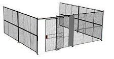 "3-Wall Welded Wire Security Cage, No Ceiling, 20'6"" x 20'4"" x 10'5-1/4"" with 5' Sliding Gate"