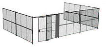 "3-Wall Welded Wire Security Cage, No Ceiling, 30'6"" x 20'4"" x 10'5-1/4"" with 5' Sliding Gate"