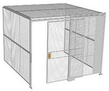 "3-Wall Welded Wire Security Cage, w/Ceiling, 10'4"" x 10'2"" x 8'5-1/4"" with 5' Sliding Gate"