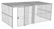 "3-Wall Welded Wire Security Cage, w/Ceiling, 20'6"" x 10'2"" x 8'5-1/4"" with 5' Sliding Gate"