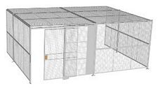 "3-Wall Welded Wire Security Cage, w/Ceiling, 20'6"" x 15'4"" x 8'5-1/4"" with 5' Sliding Gate"