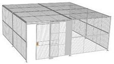 "3-Wall Welded Wire Security Cage, w/Ceiling, 20'6"" x 20'4"" x 8'5-1/4"" with 5' Sliding Gate"