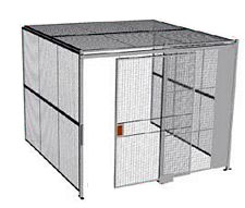 "3-Wall Welded Wire Security Cage, w/Ceiling, 10'4"" x 10'2"" x 10'5-1/4"" with 5' Sliding Gate"